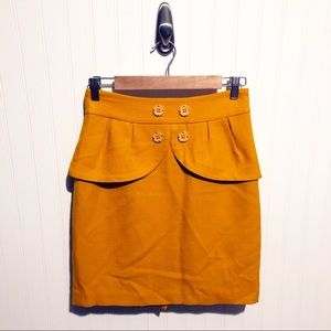 Anthropologie Yellow/Gold Pencil Skirt Wool 4